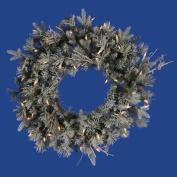 60cm Pre-Lit Frosted Wistler Fir Artificial Christmas Wreath - Clear Dura Lights