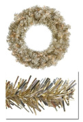 90cm Pre-Lit Champagne Sparkling Tinsel Artificial Christmas Wreath -Clear Lights