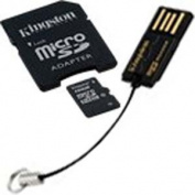 Kingston 16GB MicroSDHC Class 10 with a full-size SD adapter and USB reader