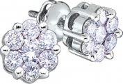 Gold and Diamonds EG852-W-B 0.25CT-DIA FLOWER EARRING- Size 7