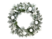 60cm Pre-Decorated Snowy Flocked Artificial Christmas Wreath - Unlit