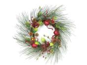 50cm Christmas Brites Red & Green Jingle Bell Glitter Artificial Wreath - Unlit
