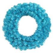 90cm Pre-Lit Sparkling Sky Blue Artificial Christmas Wreath - Teal Lights