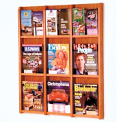 Wooden Mallet LM-12MO Divulge 9 Magazine/18 Brochure Wall Display with Brochure Inserts in Medium Oak