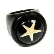 Ed Speldy East OR011-7 Starfish Black Ring with Black Background - Size 7