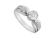 FineJewelryVault UBJ697W18D-101 Diamond Engagement Ring : 18K White Gold - 1.00 CT Diamonds - Size
