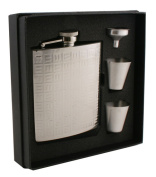 Visol VSET38-2020 Domino Stainless Steel 6oz Deluxe Flask Gift Set
