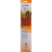 Real Value Brush Set Natural Bristle, Round 2, 6, Bright 6, Filbert 8, Fan 6, Flat 10, Angular 6