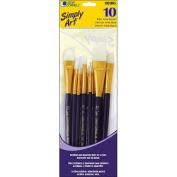 Loew-Cornell 1021085 Simply Art White Nylon Brush Set-10-Pkg
