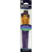 Loew-Cornell Brown Nylon Brush Set, 3-Pack