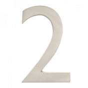 """Architectural Mailboxes 3582SN-2 Brass 4-Inch Floating House Number, Satin Nickel """"2"""""""