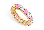 FineJewelryVault UB14YR500DPS226225-101 Pink Sapphire and Diamond Eternity Band : 14K Yellow Gold - 5.00 CT TGW - Size