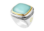 FineJewelryVault UBRT25TT14AQZ-101 Aqua Chalcedony Rope Ring : 14K Two Tone (White& Yellow) Gold - 10.00 CT TGW - Size