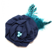 Laliberi Quick Clip Flowers, Rolled Rose and Feathers