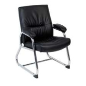 Lorell LLR60504 Guest Chair- 24-.25in.x27in.x35-.75in.- Black Leather
