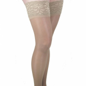 GABRIALLA Graduated Compression Thigh Highs (Sheer Lace Top w/Silicone Band) - Medium Compression 18-20 mmHg - Large