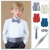 McCall's Patterns M4290 Children's/Boys' Lined Vests, Cummerbund, Bow Tie and Necktie, Size CJ