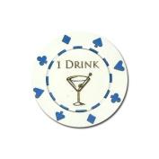 Brybelly Holdings BAR-4082 25 White 1 Drink Bar Token Chips