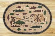 Capitol Importing 90-309A Lodge 2 Fishing - 20 in. x 30 in. Hand Print Oval