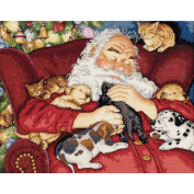 "Dimensions Gold Collection ""Santa's Nap"" Counted Cross Stitch Kit, 38cm x 30cm"