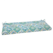 Pillow Perfect 507378 Outdoor Summer Breeze Bench Cushion in Pool - Blue-Turquoise-Coral-White