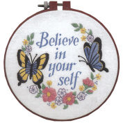 Dimensions 256393 Learn-A-Craft Believe In Yourself Crewel Embroidery Kit-6 in. Round