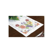 "Dimensions ""Flowers and Berries"" Table Runner Stamped Cross Stitch, 38cm x 110cm"