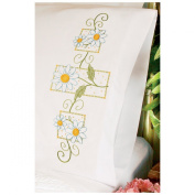 Daisies On Gingham Pillowcase Pair Stamped Cross Stitch-50cm X80cm