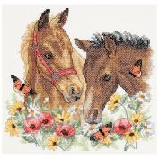 "Dimensions ""Horse Friends"" Stamped Cross Stitch Kit, 30cm x 28cm"