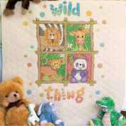 "Dimensions Baby Hugs ""Wild Thing"" Quilt Stamped Cross Stitch Kit, 90cm x 110cm"