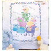 "Dimensions Baby Hugs ""Farm Friends"" Quilt Stamped Cross Stitch Kit, 90cm x 110cm"