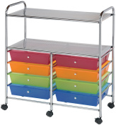 Blue Hills Studio SC8MCDW-12-S 8-Drawer with 2-Shelf Multi-Coloured Storage Cart
