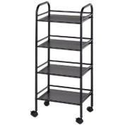 Blue Hills Studio SH4BK 4-Shelf Storage Cart - Black