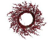46cm Artificial Red Berry Twig Christmas Wreath - Unlit