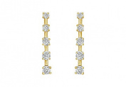 FineJewelryVault UBER1603Y14D-101 Diamond Journey Earrings : 14K Yellow Gold - 1.00 CT Diamonds