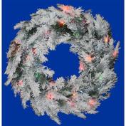 90cm Pre-Lit Flocked Alaskan Artificial Christmas Wreath - Multi Dura Lights