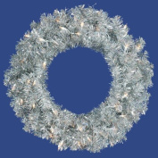 90cm Pre-Lit Sparkling Silver Tinsel Artificial Christmas Wreath - Clear Lights