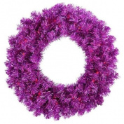 90cm Pre-Lit Wild Purple Tinsel Artificial Christmas Wreath - Purple Lights