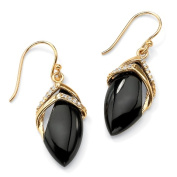 PalmBeach Jewelry 49600 Marquise-Shaped Genuine Onyx Cubic Zirconia Accent 18k Gold-Plated Drop Earrings