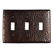 The Copper Factory Solid Hammered Copper Tripple Switch Plate in Antique Copper Finish - CF127AN