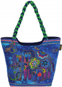 Laurel Burch LB4850 Scoop Tote Zipper Top 19 in. x 5 in. x 14 in.-Canine Family