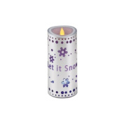 18cm Let it Snow Flickering Red Flame Battery Operated Flameless Candle