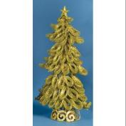50cm Lighted Looped Kiwi Green Glitter Christmas Tree Decoration