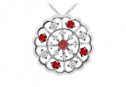 FineJewelryVault UBPD1790W14DR-101 Ruby and Diamond Flower Pendant : 14K White Gold - 1.00 CT TGW