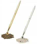 Weddingstar 7193 Antique Filigree Base Pen Set- Gold