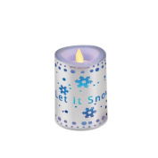 10cm Let it Snow Flickering LED Colour-Change Battery-Operated Flameless Candle