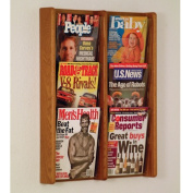 Wooden Mallet AC26-6MO Stance 6 Pocket Wall Display in Medium Oak - 2Wx3H