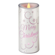 """18cm Colour Changing LED Lighted Flameless Silver """"Merry Christmas"""" Candle"""
