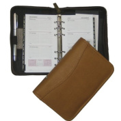 David King& Co 610B 5 in. x 8 in. Zippered 6 Ring Agenda- Black