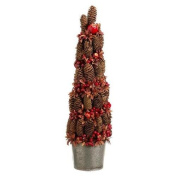 60cm Potted Pine Cone Crab Apple Artificial Christmas Tree - Unlit